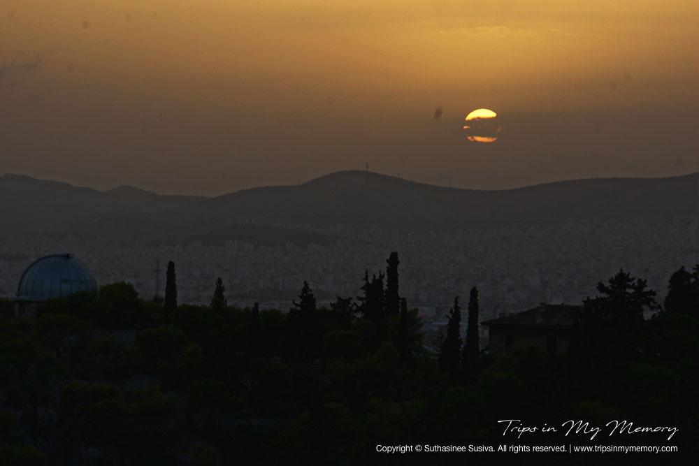 Sunset over Athens Horizon
